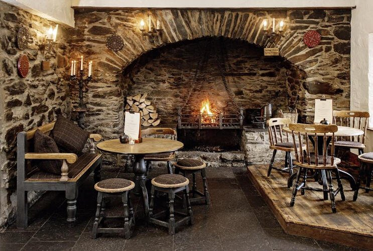 open fire at falls of dochart inn